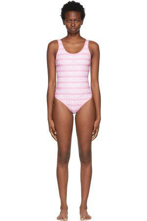 Balmain Pink & White Bicolor Monogram One-Piece Swimsuit