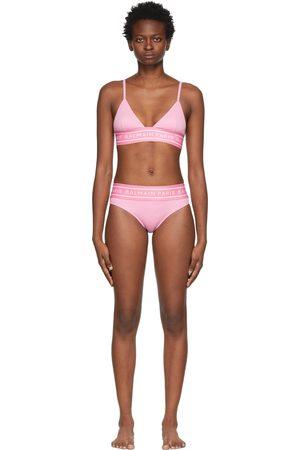 Balmain Pink Monogram Triangle Bikini