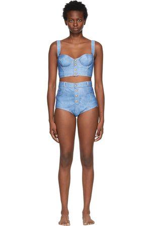 Balmain Women Bikinis - Blue Jean-Effect Bikini