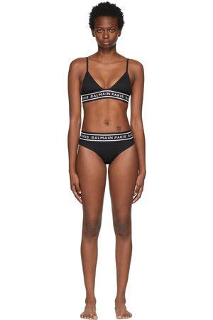 Balmain Women Bikinis - Black Monogram Triangle Bikini