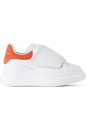 Alexander McQueen Sneakers - Kids White & Orange Suede Tab Velcro Oversized Sneakers
