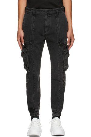 Juun.J Men Cargo Pants - Black Denim Cargo Pants