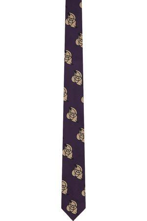 Dries Van Noten Men Neckties - Purple Silk Embroidered Graphic Tie