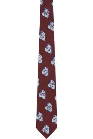Dries Van Noten Men Neckties - Burgundy & Off-White Silk Embroidered Graphic Tie