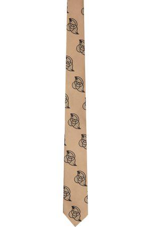 Dries Van Noten Beige & Pink Silk Embroidered Graphic Tie