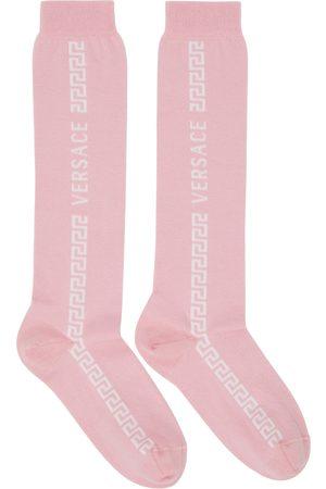 VERSACE Women Socks - Pink & White Greca Knee-High Socks