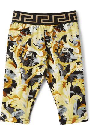 Versace Baby Black & Yellow Baroccoflage Leggings