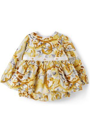 Versace Baby White & Gold Baroccoflage Dress Set