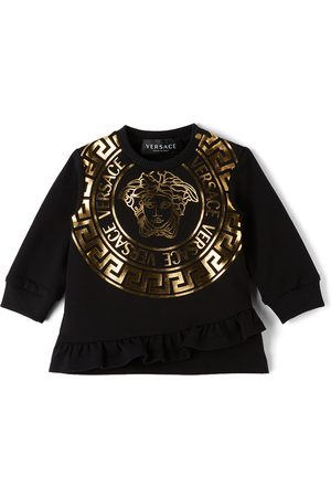 Versace Baby Casual Dresses - Baby Black Medusa Print Sweater Dress