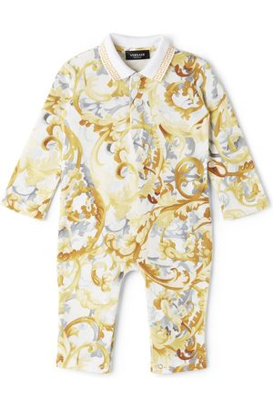 Versace Rompers - Baby White & Yellow Polo Collar Bodysuit