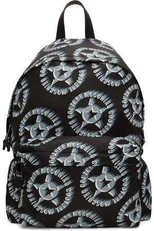 Moschino Men Luggage - Black Nylon Logo Star Print Backpack