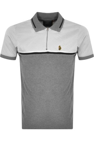 Luke 1977 1977 Matia Sport Mix Zip Polo T Shirt Grey