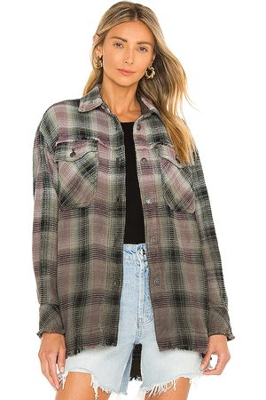 Free People Anneli Plaid Shirt Jacket in Olive.