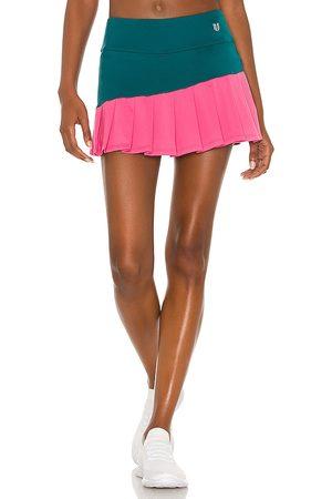Eleven by Venus Williams Diagonal Flutter Skirt in Teal,Pink.