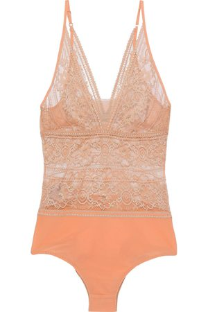 STELLA MCCARTNEY Woman Ophelia Whistling Lace And Stretch-jersey Bodysuit Pastel Size L