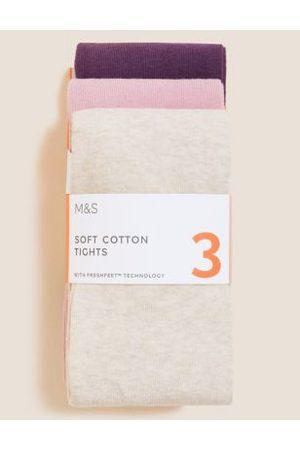 3pk Freshfeet™ Cotton Tights (2-14 Yrs)