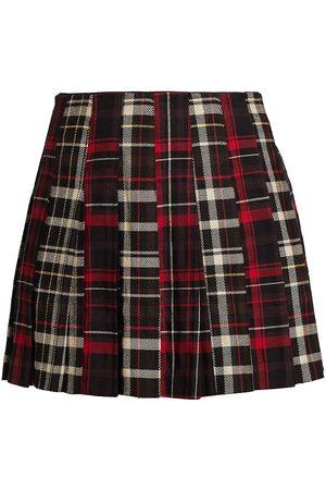ALICE+OLIVIA Carter Plaid Pleated Mini Skirt