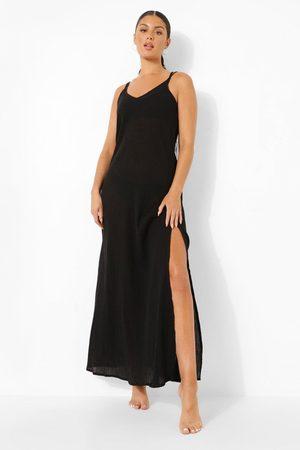 Boohoo Womens Cheesecloth Side Split Beach Maxi Dress - - S