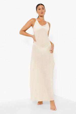 Boohoo Women Maxi Dresses - Womens Cheesecloth Side Split Beach Maxi Dress - - S