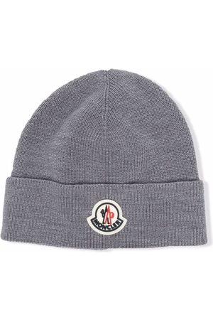 Moncler Enfant Girls Beanies - Logo-patch wool-blend beanie - Grey