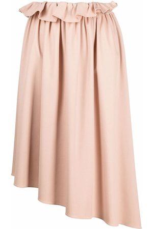 MM6 Maison Margiela Asymmetrical ruffle-trim skirt - Neutrals