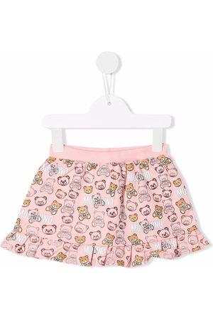 Moschino Kids Girls Printed Skirts - Teddy-print ruffled-hem skirt