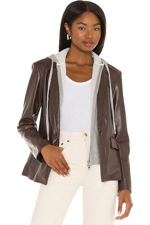 Central Park West Coco Faux Leather Dickie Blazer in .
