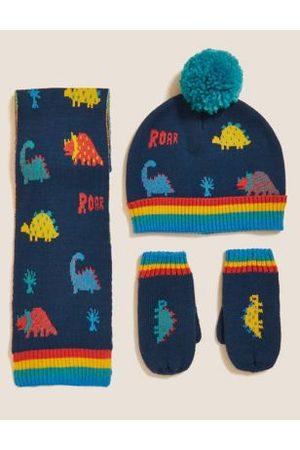 Kids' Dinosaur Hat, Scarf and Mitten Set (1-6 yrs)