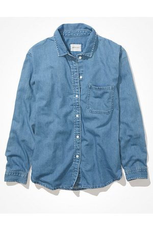 American Eagle Outfitters Oversized Denim Plaid Button-Up Shirt Women's XXS