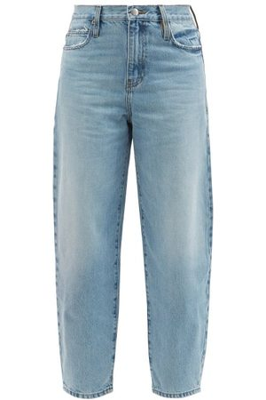 Frame Ultra High Washed Barrel-leg Jeans - Womens - Light Denim