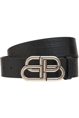 Balenciaga Logo Leather Belt W/ Logo Buckle