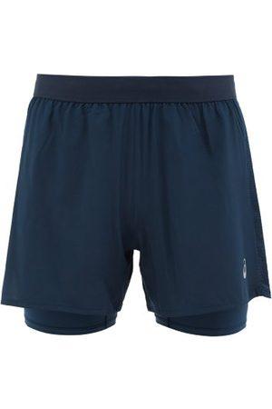 """Asics Men Sports Shorts - Road 2-in-1 5"""" Running Shorts - Mens - Navy"""