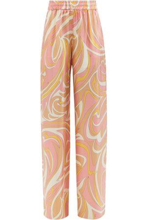 Emilio Pucci Women Pants - Vortici-print Silk Palazzo Trousers - Womens - Print