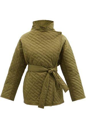 Frame Wrap-front Padded Recycled-nylon Jacket - Womens - Khaki