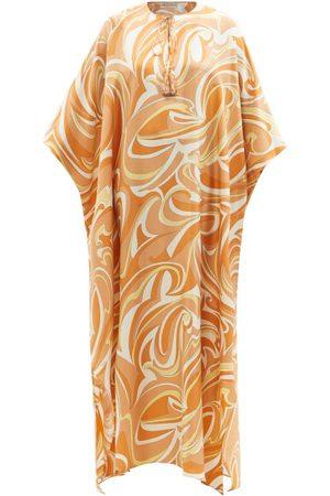 Emilio Pucci Women Printed Dresses - Tie-neck Vortici-print Silk-twill Kaftan Dress - Womens - Multi