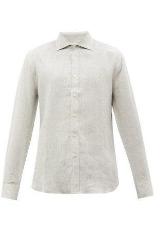 120% Lino Linen Shirt - Mens - Light Grey
