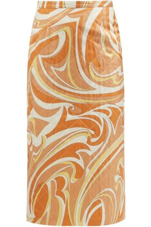 Emilio Pucci Vortici-print Quilted Twill Pencil Skirt - Womens - Print