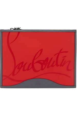 Christian Louboutin Men Luggage - Pifpouch Logo-debossed Leather Zip Pouch - Mens - Grey