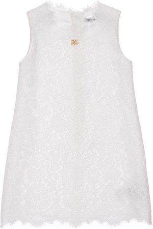 Dolce & Gabbana Sleeveless Cotton Blend Lace Dress