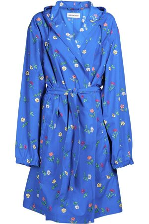 Balenciaga Flowers Print Nylon Rain Coat
