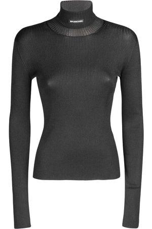 Balenciaga Ribbed Knit Tech Turtleneck Sweater
