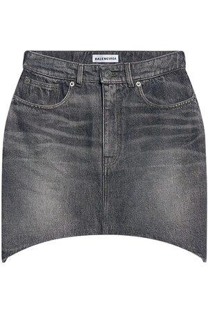 Balenciaga Women Mini Skirts - Denim Hourglass Mini Skirt
