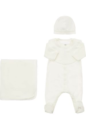 PETIT BATEAU Cotton Romper, Bib, Hat & Blanket