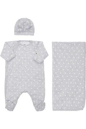 PETIT BATEAU Stars Cotton Hat, Romper & Blanket