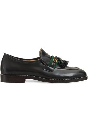 Gucci Girls Loafers - 20mm Web Patent Leather Loafers