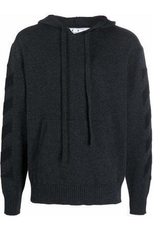Off-White Men Hoodies - Diagonal stripe pattern knitted hoodie - Grey