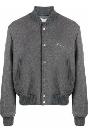 OFF-WHITE Diagonal pattern varsity jacket - Grey