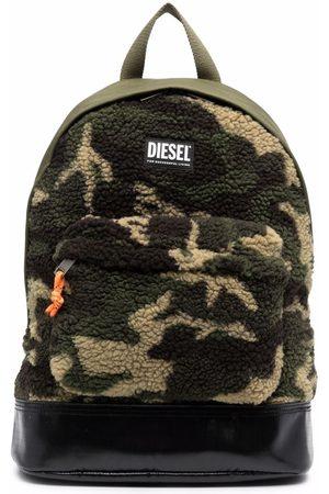 Diesel Men Rucksacks - Faux-shearling camouflage backpack
