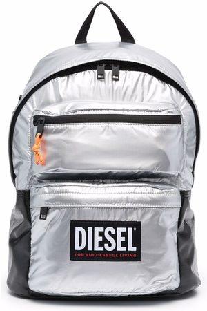 Diesel Men Rucksacks - Logo-patch metallic backpack - Grey