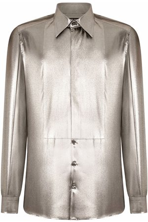 Dolce & Gabbana Men Long sleeves - Metallic long-sleeve shirt - Grey